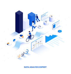 flat color modern isometric design - data vector image