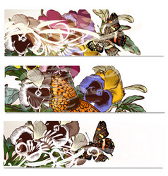 Floral backgrounds set with violets flowers vector