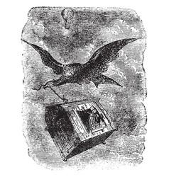 Flying eagle vintage vector