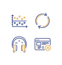 full rotation dot plot and headphones icons set vector image