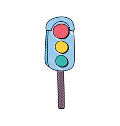 grated traffic light object to urban caution vector image