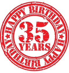 Grunge 35 years happy birthday rubber stamp vector image