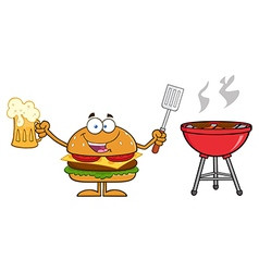 Hamburger Cartoon Cooking a BBQ vector