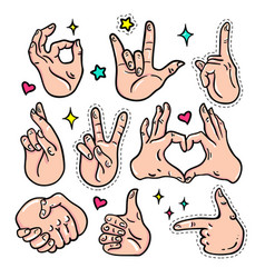 hand gestures - isolated stickers set vector image