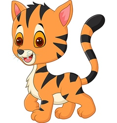 Happy baby tiger posing isolated vector
