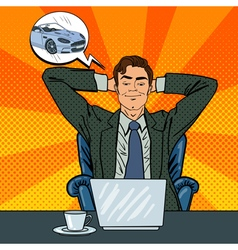 happy businessman with laptop office worker vector image