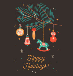 happy holidays greeting cards template vector image