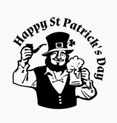happy st patricks day poster leprechaun character vector image