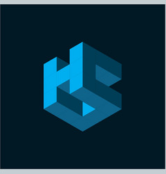 initial letter h c logo template with 3d cube icon vector image
