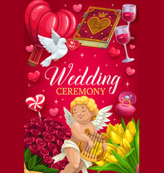 Invitation on wedding ceremony cupid and flowers vector