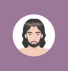 jesus christ with crown thorns vector image