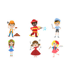 kids different professions set builder vector image