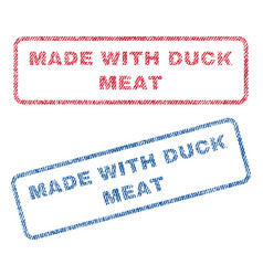 Made with duck meat textile stamps vector
