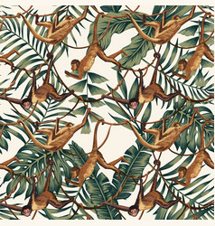 Monkeys on creepers on tropical leaves vector