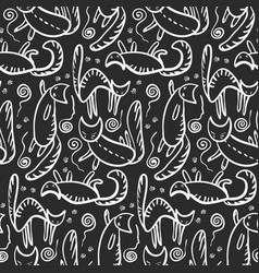 Monochrome pattern with white cats silhouettes vector