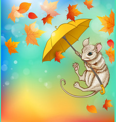 mouse flying on an umbrella vector image