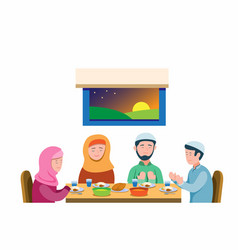 Muslim family pray before meal to break fasting vector