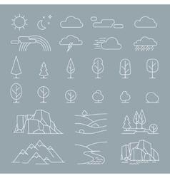 Nature landscape elements icons vector image