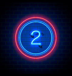 neon city font sign number 2 vector image