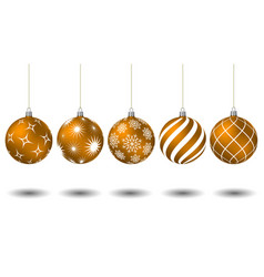 orange christmas balls with different patterns vector image