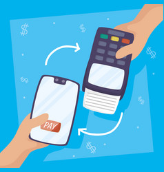 Payments online technology with smartphone vector