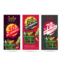 Products leaflets set with food basket and vector