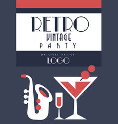 retro vintage party logo emnlem for music party vector image