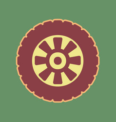 Road tire sign cordovan icon and mellow vector