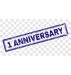 Scratched 1 anniversary rectangle stamp vector