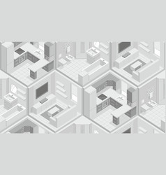 Seamless pattern with isometric rooms vector