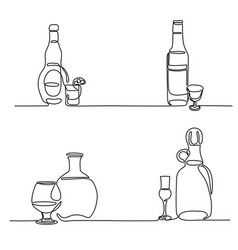 set bottle and glass isolated vector image