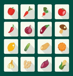set icons of fresh and healthy food Vegetables vector image