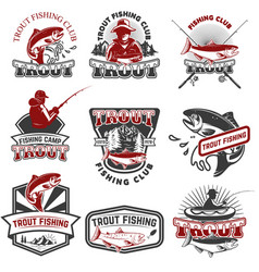 set of trout fishing emblems isolated on white vector image