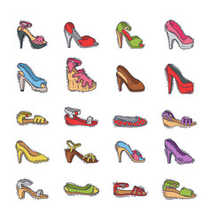 set of womens shoes fashion design hand vector image