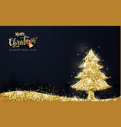 shining gold christmas tree on dark background vector image