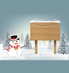snowman and wood board sign in winter forest vector image