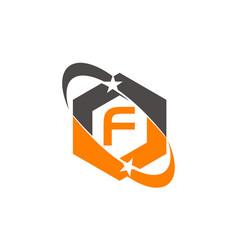 Star swoosh letter f vector