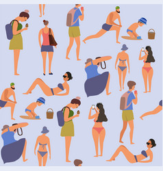 Summer vacation with active people and relaxing vector