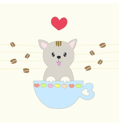 Sweet pastel cat smiling in a coffee cup vector