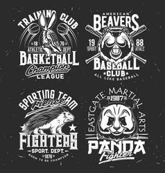 T-shirt prints with armadillo panda beaver vector