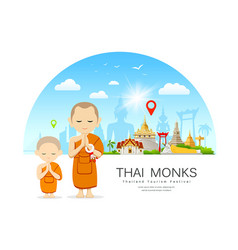thai monks and thai novice design vector image