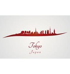 Tokyo skyline in red vector