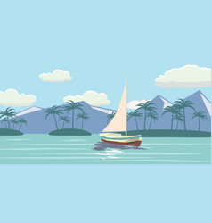 tropical paradise turquoise ocean island palm vector image