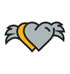 two hearts with wings yellow vector image