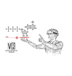 Vr wireframe headset man with atp acid vector