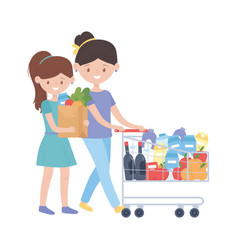 Women shopping with cart and bag design vector