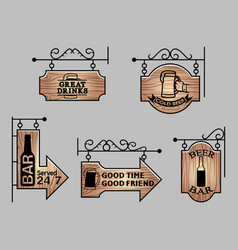 Wood bar signage vector