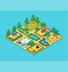 Zoo concept 3d isometric view vector