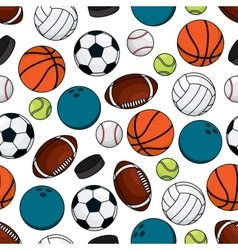 Balls and pucks for team games seamless pattern vector image vector image