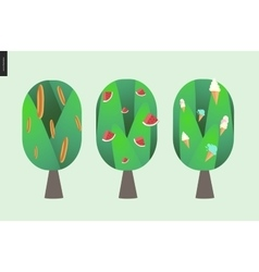 Braed watermelon and ice cream trees vector image vector image
